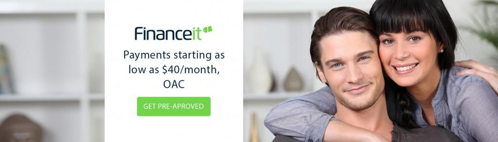 A couple smiles, finance it logo